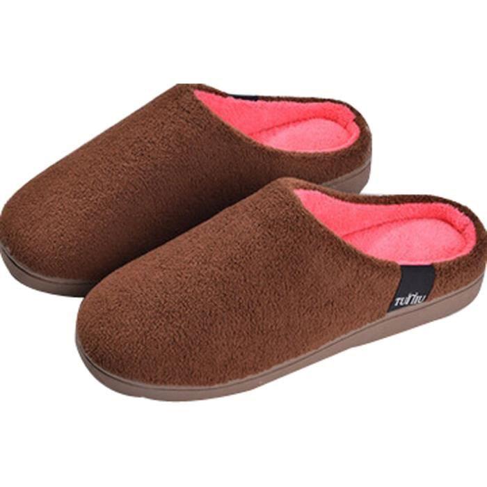 Hiver pantoufles en coton Homme Plus ménages intérieure chaud chaussons Café