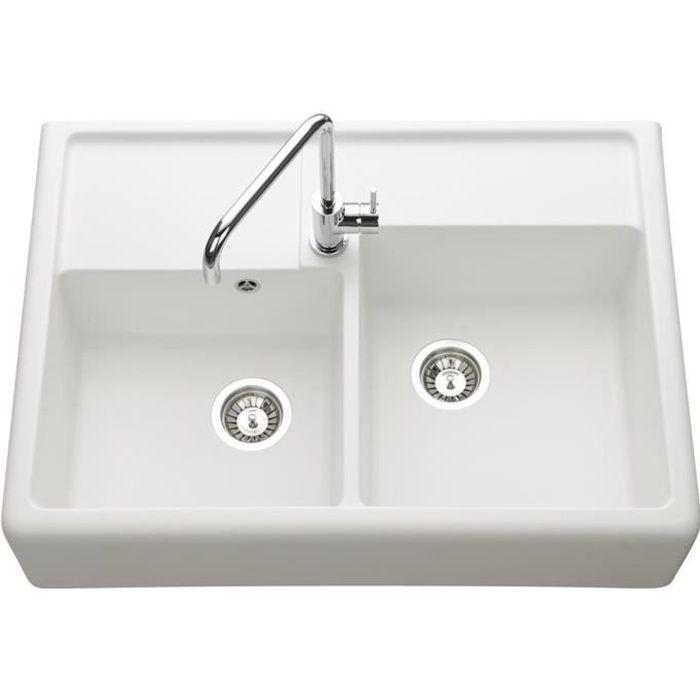 vier poser granit blanc k mbad kiwi 2 bacs cuisissimo achat vente evier de cuisine vier. Black Bedroom Furniture Sets. Home Design Ideas