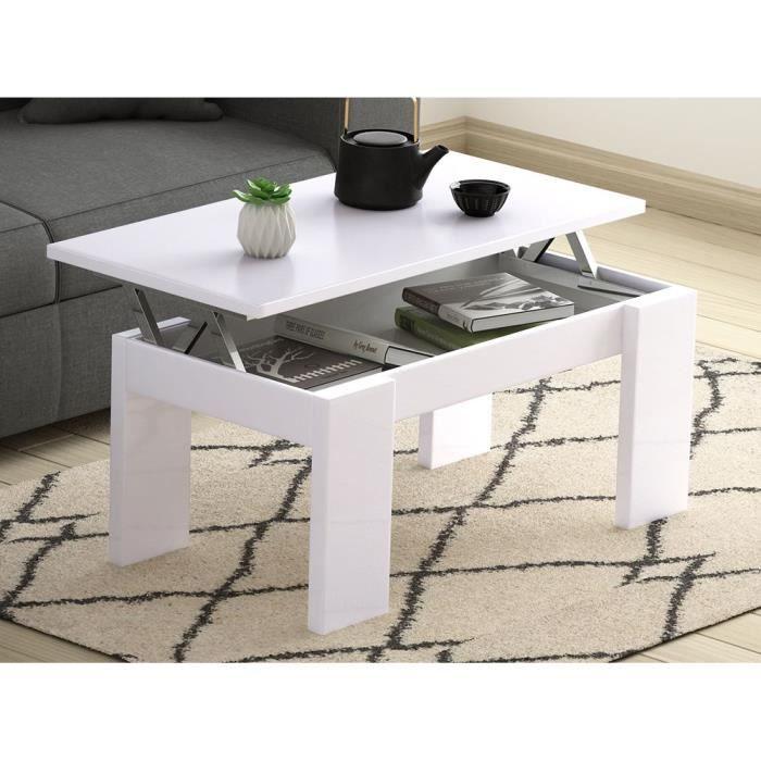 Table basse blanche l120 x l60 cm plateau relevable avec - Table basse conforama blanche ...