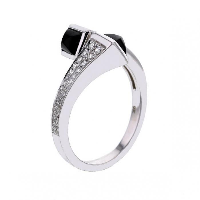 MONTE CARLO STAR Bague Toi et moi Or Blanc 375° Diamants 0,24 ct et Onyx noir etFemme