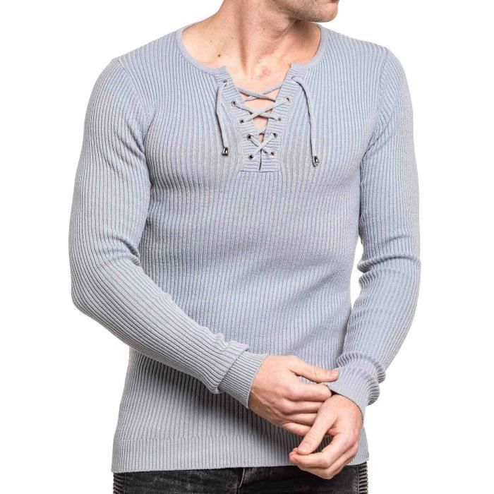 0f3ee85b795ca Pull homme fin gris moulant col v Gris Gris - Achat   Vente pull ...