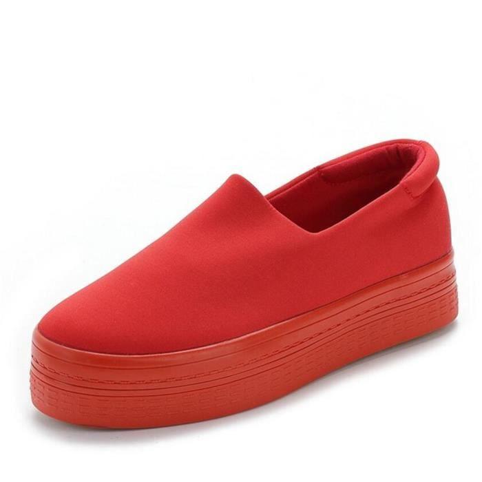 Chaussures Plates Pour Les Femmes Printemps Été mode Casual Mocassins Chaussures Bout Rond Dentelle-up Muffin Femmes chaussures pwu7C99bxq