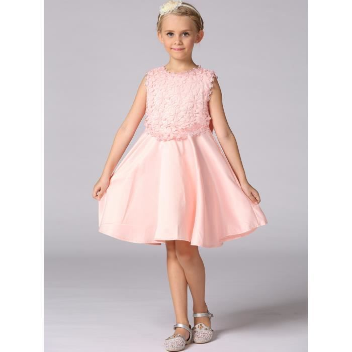 robe complète filles manches solide fille robe