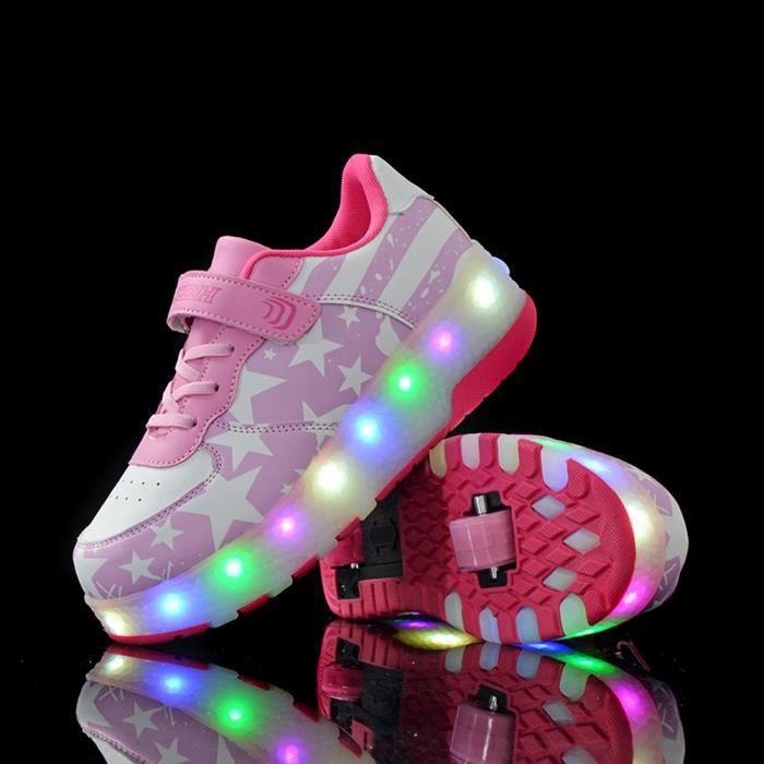 Chaussures Heelys LED lumiere Enfants Double Roulettes Sneaker avec une roue clignotant patins enfants garçon fille chaussures -