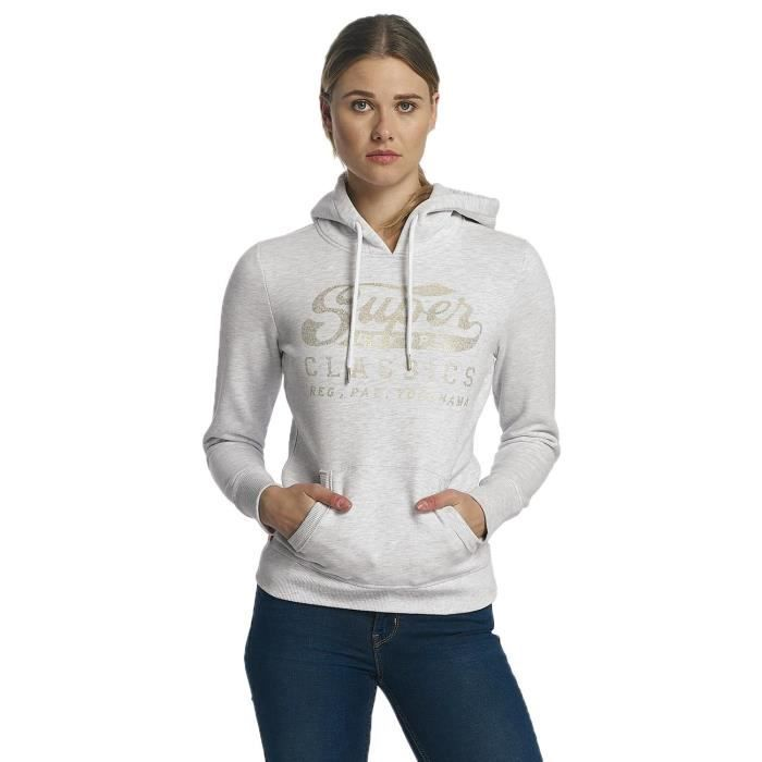 949d53b67eee Superdry Femme Hauts    Sweat capuche Classics Entry Gris Gris ...