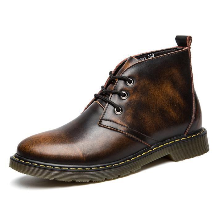 Bottine Chaussure Noir Mode Tête hommes DTG XZ3051 ronde GrisMarron Durable htdQrCs