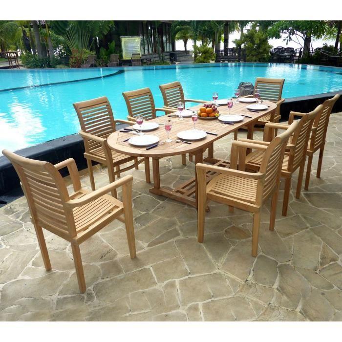 Salon de jardin en teck brut - 8 fauteuils empilables - Achat ...