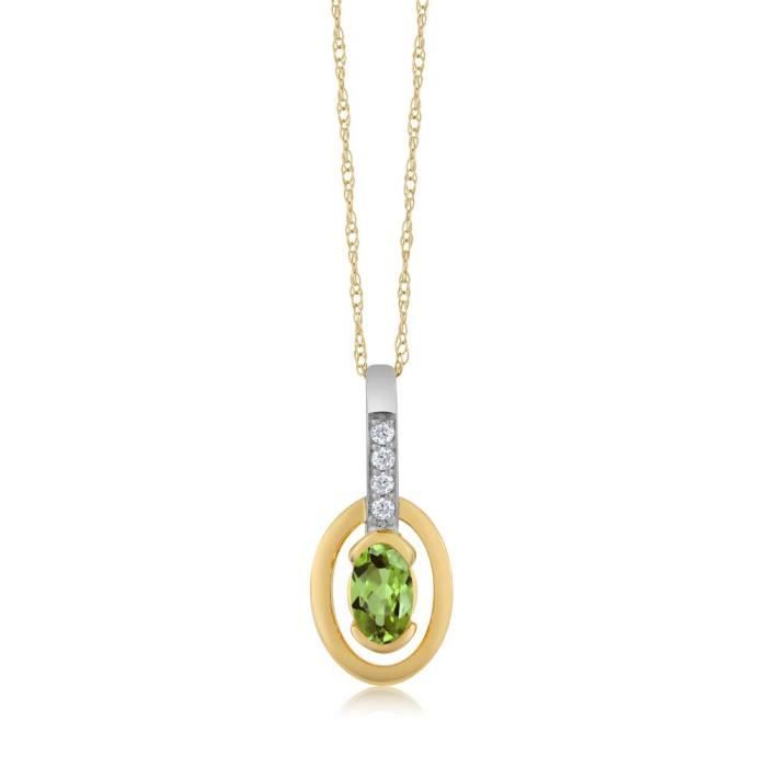 Pendentif En Or Jaune 18k - Péridot ovale et Diamant avec chaine - 0.30 ct