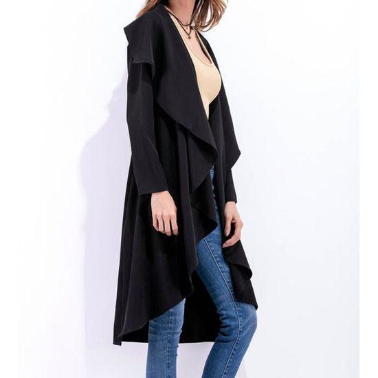 Ruffle Casaque Mesdames Femmes vent Noir Irrégulière Coupe Outwear Casual Wlx80820855bkl Long 5wfwqI
