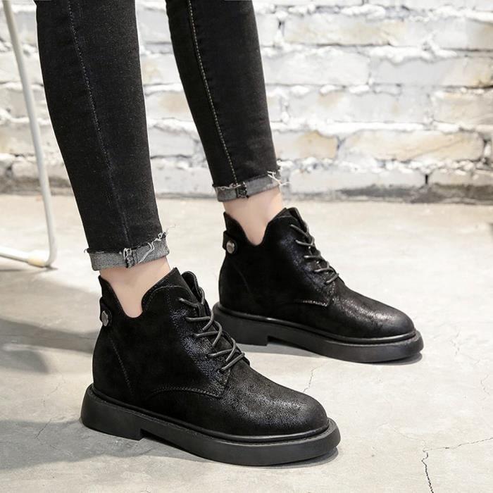 En Cuir Noir Bottes Casual Plates Bout À Shoes Lacets Rond Martin Femmes SwOAxY7w