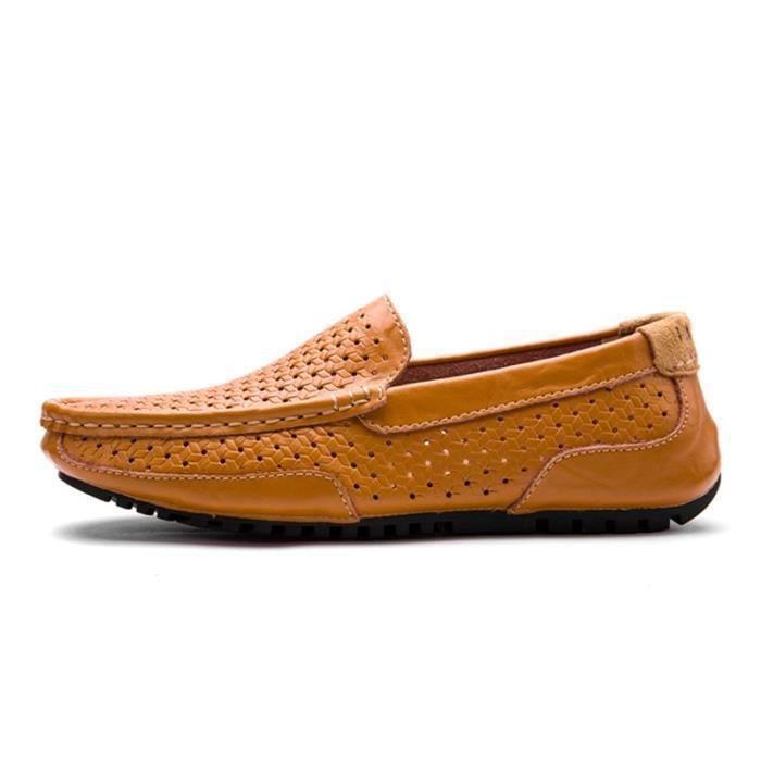 Hommes Superstar Chaussures De Casual Conduite Mocassins Mâle En Cuir Véritable Respirant Souple Simple Appartements Chaussures U2JOq5i