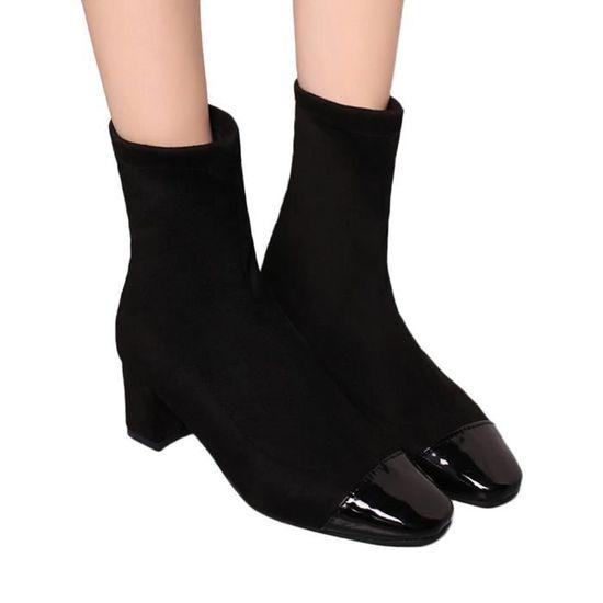 Tube Martain Talon Moyen Zipper Toe Shoes Suede Chaussures Bottes aUXTq