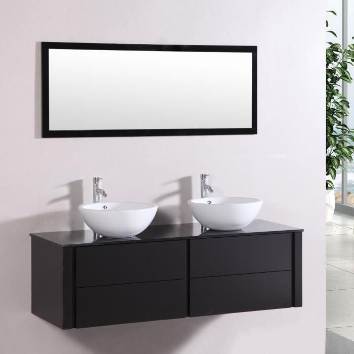 meuble de salle de bain lilia 2 vasques 1 miroir weng - Meuble Double Vasque A Poser 2
