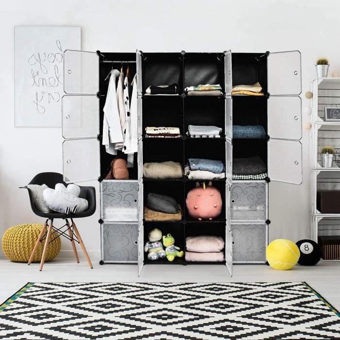 Armoire de chambre adulte noir et blanc - Achat / Vente pas cher
