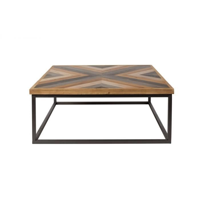 table basse carre bois metal achat vente pas cher. Black Bedroom Furniture Sets. Home Design Ideas