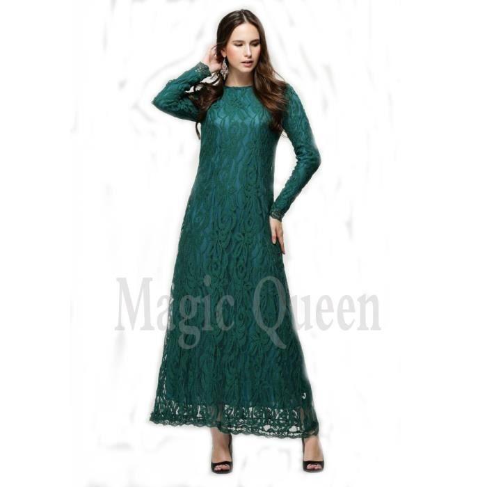 robe en caftan de dentelle amincissante à traine style-europe