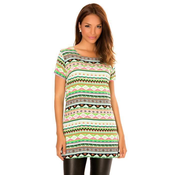 ea438b4f4 Dmarkevous - Top Tee-shirt vert femme à col rond, manches courtes à ...