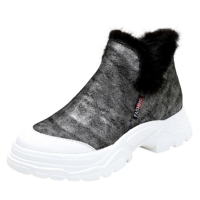 Bout Confortables Bottes Coton Zipper Plat Martin En Des Avec Talkwemot12813 Chaussures Rond Fminin RaSqwrYTR