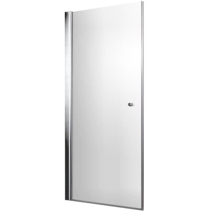 Porte de douche pivotante 80x185 cm, verre transparent anticalcaire, paroi  de douche en niche, profilé aspect chromé, Schulte efb39b934f50