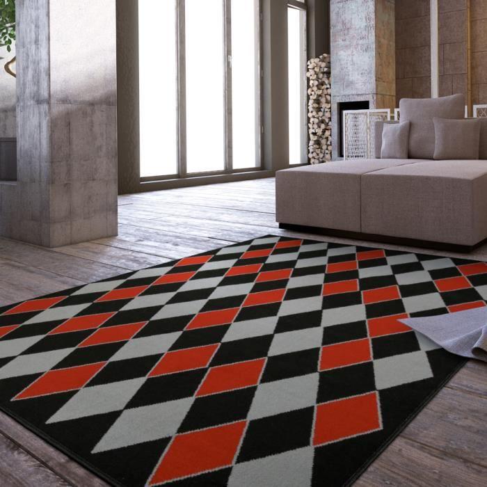 tapis salon losanges rouge et gris universol - Achat Tapis Salon