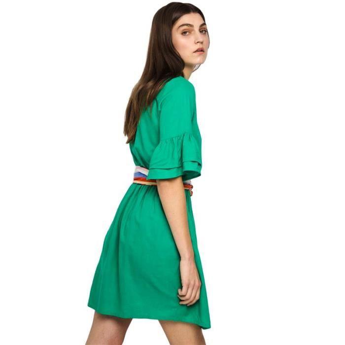 Manches verte Robe à volants Company Fantastica Couleur Vert Taille M