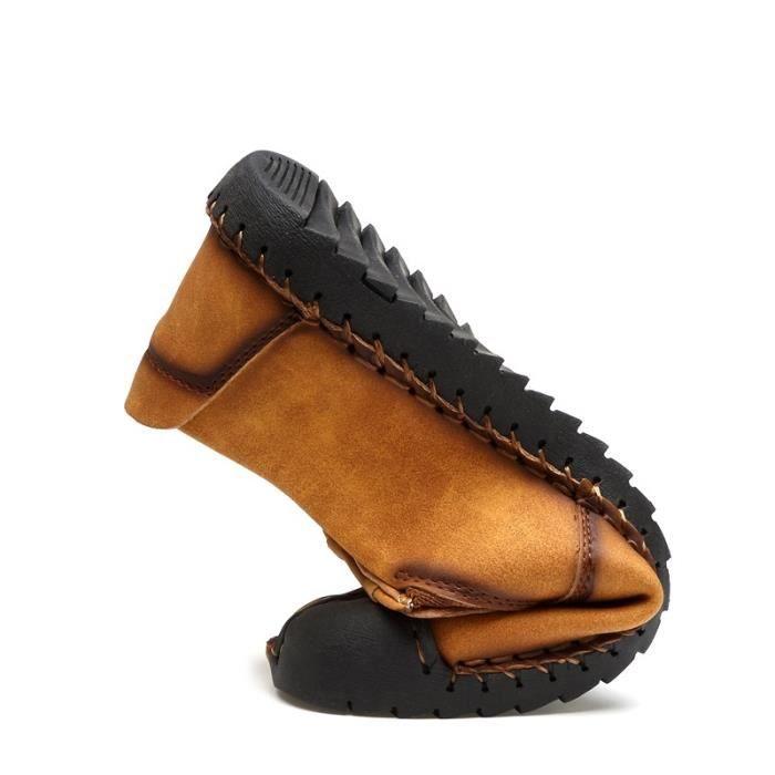 Slip Mode plates On cuir Chaussures d'été main Casual en Hommes air Chaussures plein en vO7rqRv