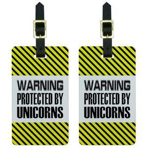 VALISE - BAGAGE Warning des hommes protégés par licornes Etiquette