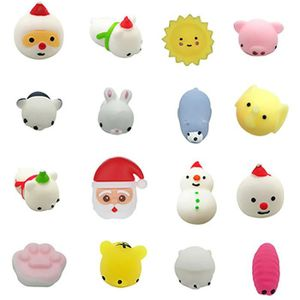 16pc Christmas Toys Mini Cute Squeeze Funny Toy Soft Stress Relief Toy Diy Decor Poupee 2560