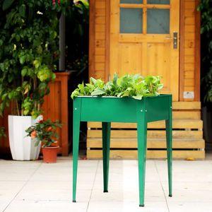 Ikayaa Metal Pot De Fleur Plantation De Jardin Sureleve Cultive A La
