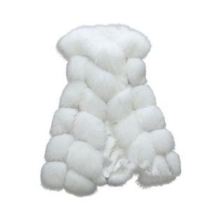 Hiver gilet de fourrure de luxe Chic Poilu fausse fourrure manteau femmes  chaud épais manches Jack WDE5352 18addafb6e6