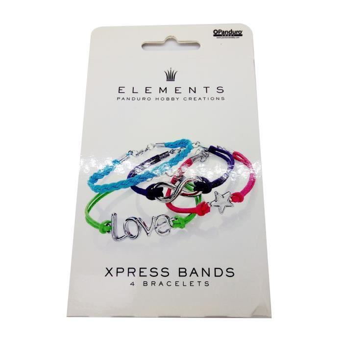 Kit bracelets express - Pour fillette pressée - Contient : 4 élastiques de couleur - intermédiaires en métalSUPPORT BIJOUX - SUPPORT BAGUE - BARRETTE A CHEVEUX - BOUCLE D'OREILLE - BRACELET - BROCHE
