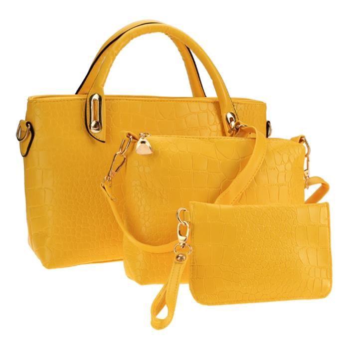 sacoche sac à main femmes sac à bandoulière 3PCS occasionnels Party pochette