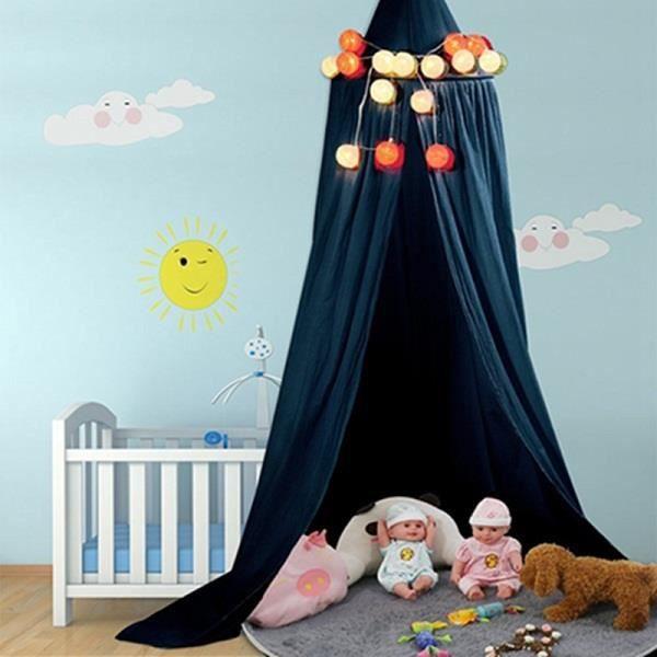 ciel de lit baldaquin b b enfant moustiquaire en coton bleu fonc achat vente ciel de lit. Black Bedroom Furniture Sets. Home Design Ideas