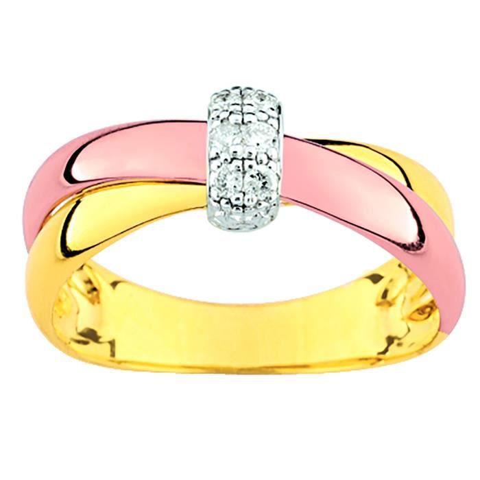 Bague Brillaxis diamants croisée or rose et jaune