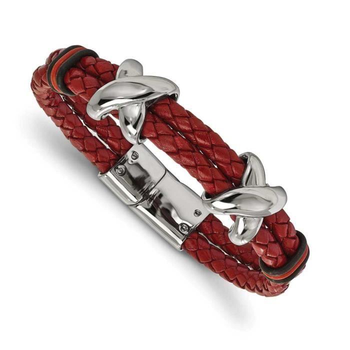 En acier inoxydable poli et caoutchouc-Bracelet en cuir - 20 cm