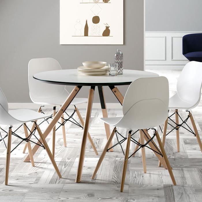 Table ronde scandinave blanche et bois ILDRA L 120 x P 120 x H 75 cm ...