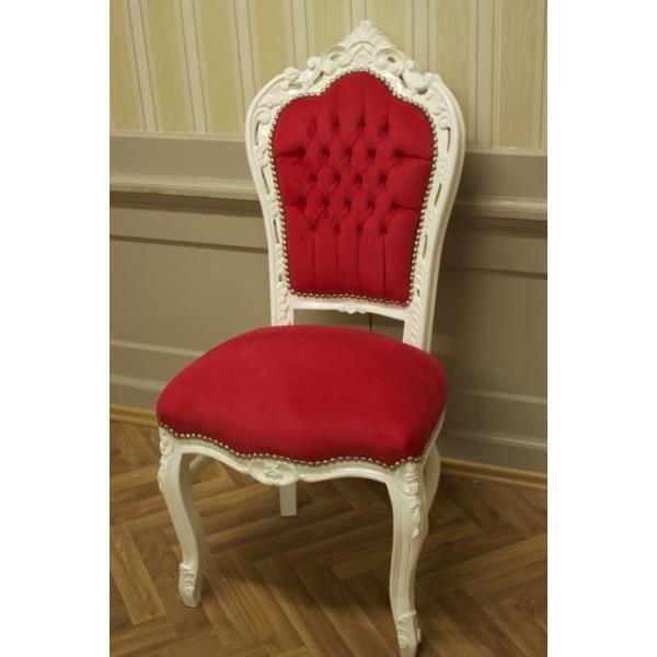 Salle A Manger Chaise Style Baroque Peint En Blanc Tissu Rouge