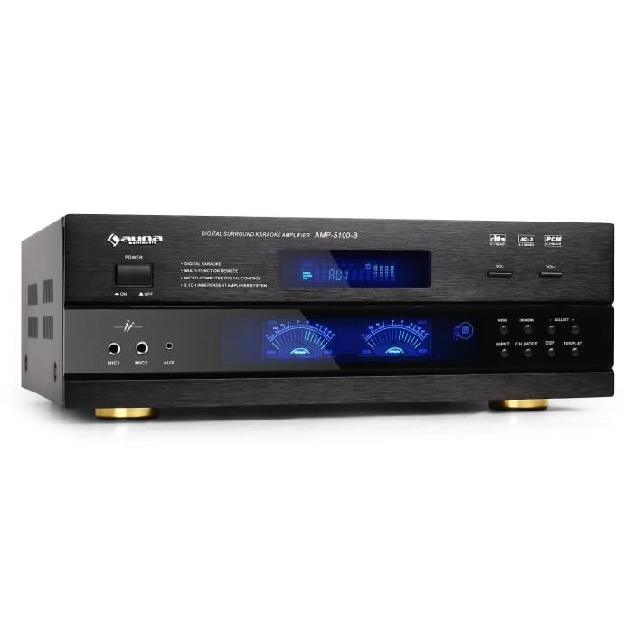 Auna Amp5100 Amplificateur 5.1 Av Pa (5.1-3.1-2.1) 320w Rms Home Cinema Hifi Surround Karaoké Avec Récepteur Radio Et Entrées Micros