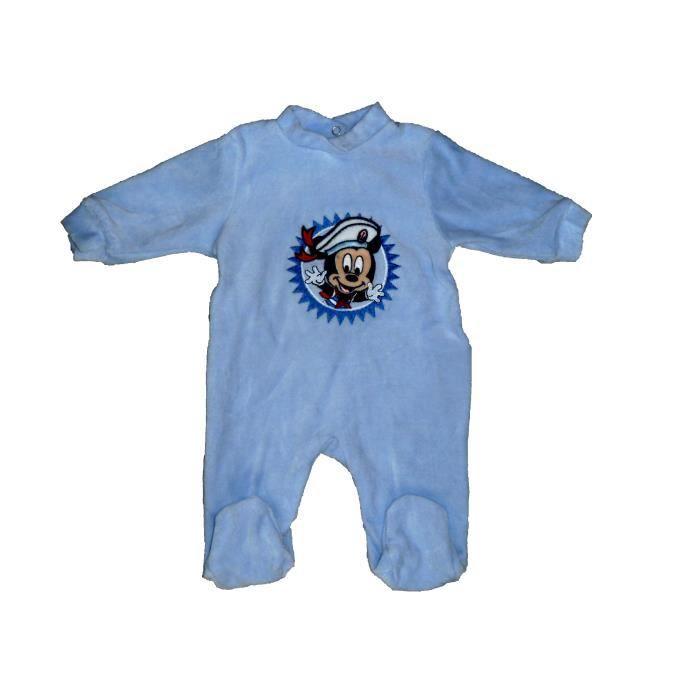 1817dfdb118e1 Pyjama bébé garçons Mickey Mouse Disney Baby 3 mois en velours bleu  grenouillère marin