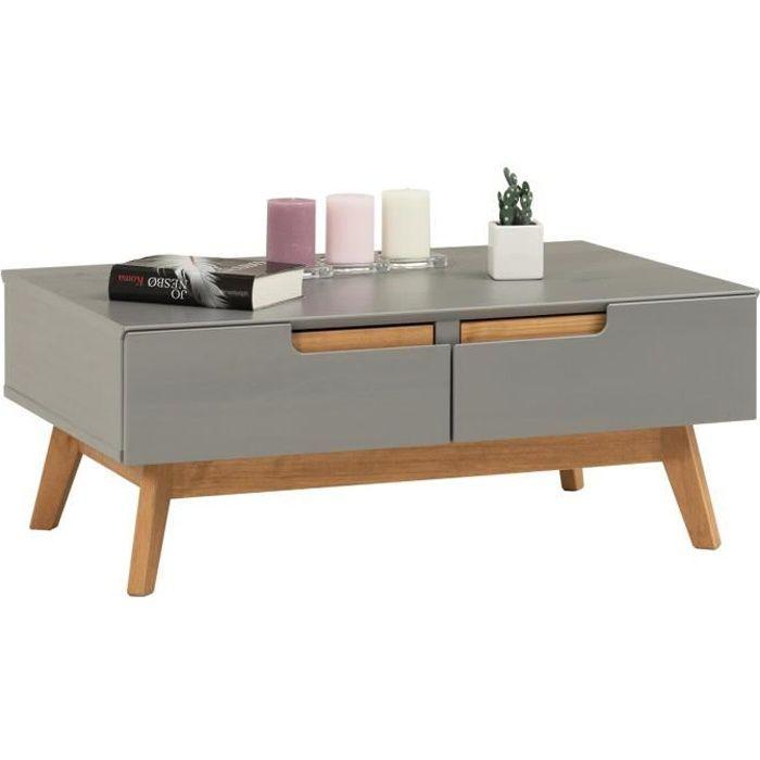 Table Basse TIBOR Style Scandinave Design Vintage Nordique Table De Salon  Rectangulaire 2 Tiroirs 2 Niches En Pin Massif Lasuré Gris