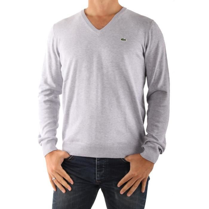 4f51bebab3b Pull Lacoste AH8591 Col V Gris. - Achat   Vente pull Pull Lacoste ...