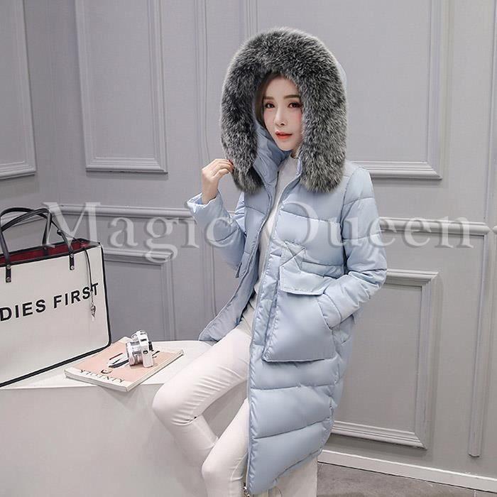 Avec Femme Capuche Poche Epais Chaud Mode Vêtement Fourruré Manteau Longue Grande Doudoune F5vaq1v