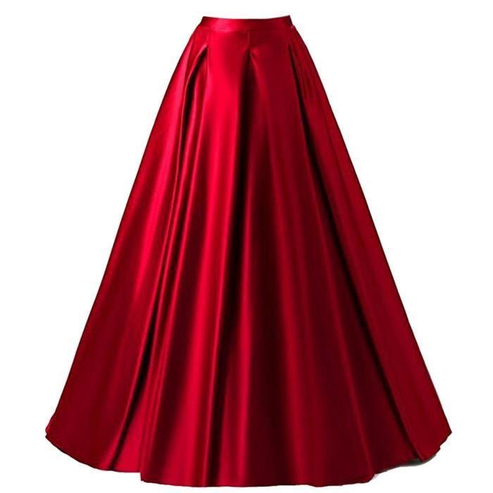Soirée De Vintage Longue Jupe Rétro Taille Trapèze Femme Maxi Rouge xwfqRBSX