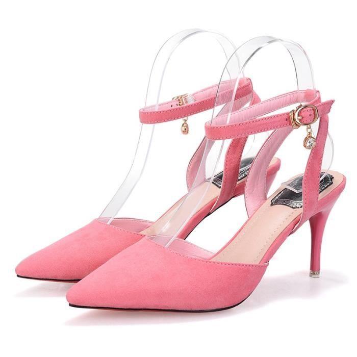 Designer Shoes en cuir véritable Escarpin Sandales d'été en peau de mouton avec boucle cheville sandales à talon mince dames