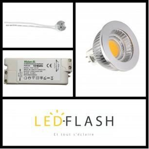 Kit LED GU5.3 COB 5W Dimmable (eq. 50W) - Coule...