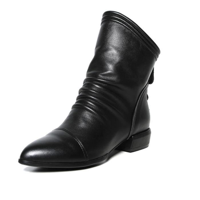 Chaussures Volants Bas Solides Féminine À Talons Zip De Carrés Moyen Mode Pageare6504 Bottes tshQrd