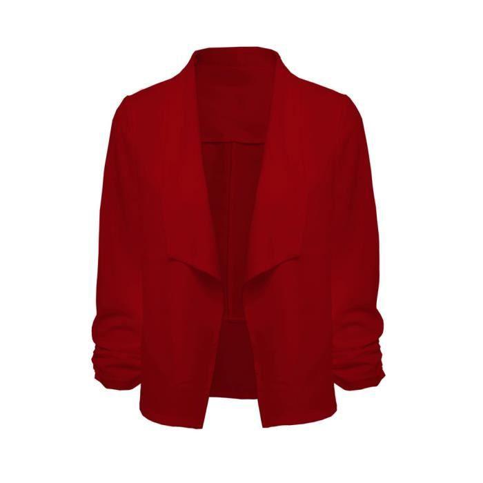 Travail De Veste Bureau Ouvert Costume 3 Manches Court 4 Femmes Blazer Cardigan Rouge Avant Manteau xvq7wZnB