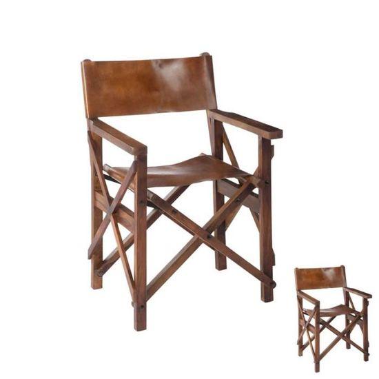 Chaise de Réalisateur Pliable Bois/Cuir Cognac - HOHA - Achat ...