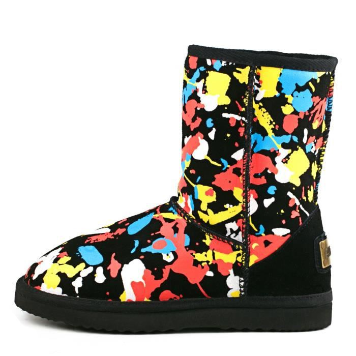 Ausland Fashion Midcalf Graffiti Water Resistant Leather Boot 95325 QCN83 Taille-36 1-2