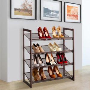MEUBLE À CHAUSSURES Range-Chaussures - 4 Niveaux - 16 Paires - Métal -